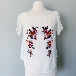 Tops - Embroidered Off The Shoulder Top
